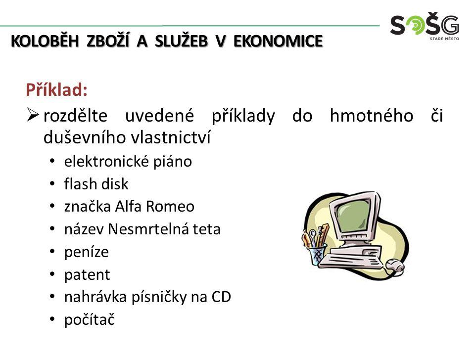 KOLOBĚH ZBOŽÍ A SLUŽEB V EKONOMICE Příklad:  rozdělte uvedené příklady do hmotného či duševního vlastnictví elektronické piáno flash disk značka Alfa Romeo název Nesmrtelná teta peníze patent nahrávka písničky na CD počítač