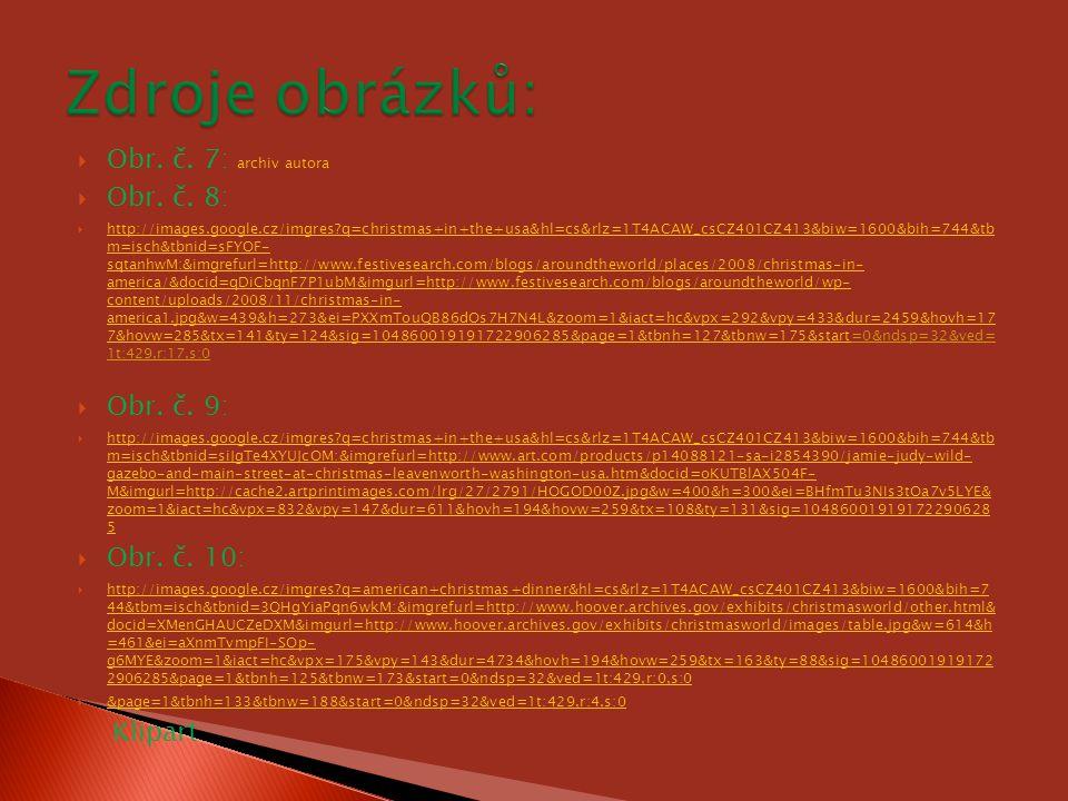  Obr. č. 7: archiv autora  Obr. č. 8:  http://images.google.cz/imgres?q=christmas+in+the+usa&hl=cs&rlz=1T4ACAW_csCZ401CZ413&biw=1600&bih=744&tb m=i