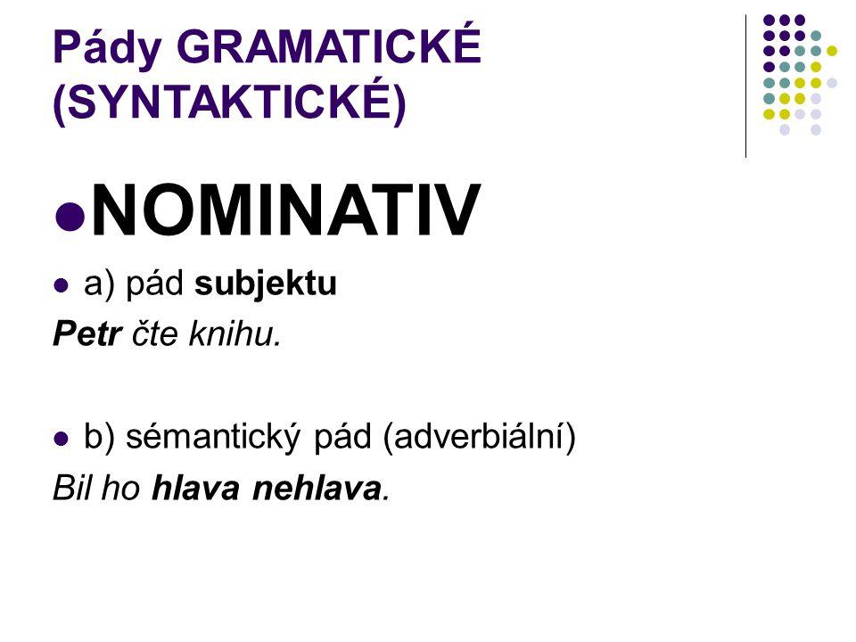 Pády GRAMATICKÉ (SYNTAKTICKÉ) NOMINATIV a) pád subjektu Petr čte knihu. b) sémantický pád (adverbiální) Bil ho hlava nehlava.