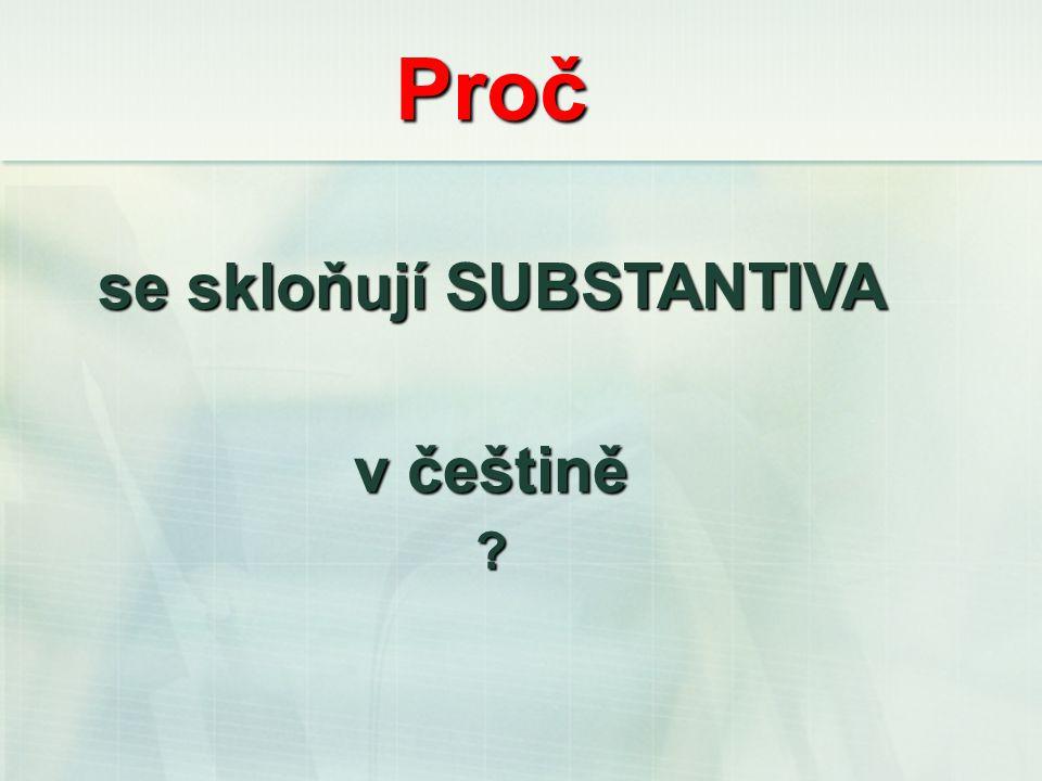 Proč se skloňují SUBSTANTIVA v češtině?
