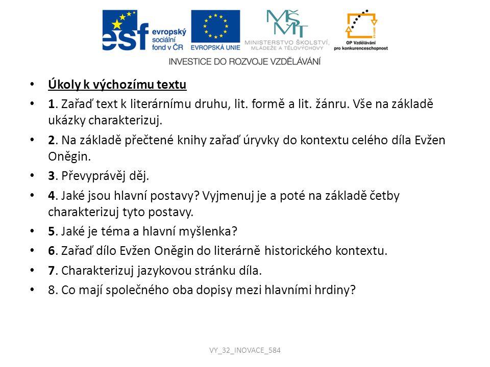 Řešení úkolů k výchozímu textu 1.Lit. druh: lyrika-epika, lit.