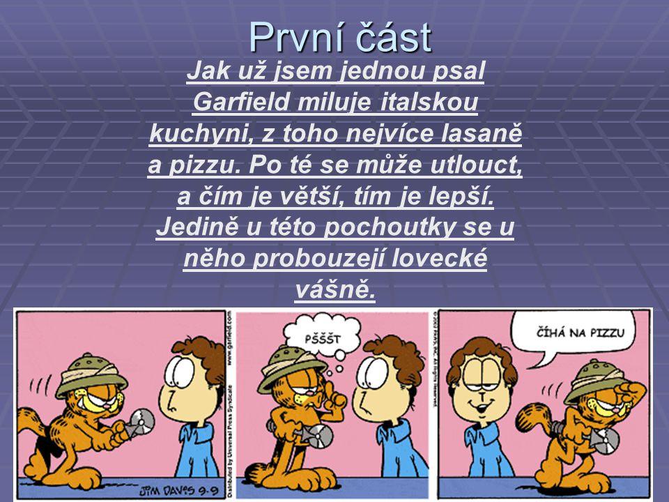 První část První část Jak už jsem jednou psal Garfield miluje italskou kuchyni, z toho nejvíce lasaně a pizzu. Po té se může utlouct, a čím je větší,