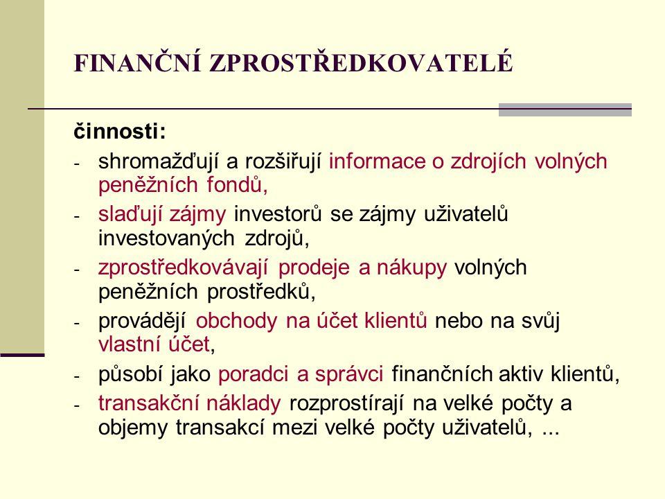 FINANČNÍ ZPROSTŘEDKOVATELÉ činnosti: - shromažďují a rozšiřují informace o zdrojích volných peněžních fondů, - slaďují zájmy investorů se zájmy uživat