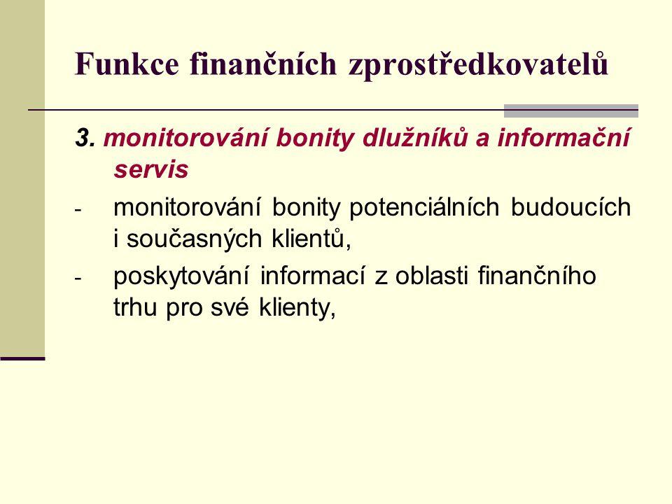 Funkce finančních zprostředkovatelů 3. monitorování bonity dlužníků a informační servis - monitorování bonity potenciálních budoucích i současných kli