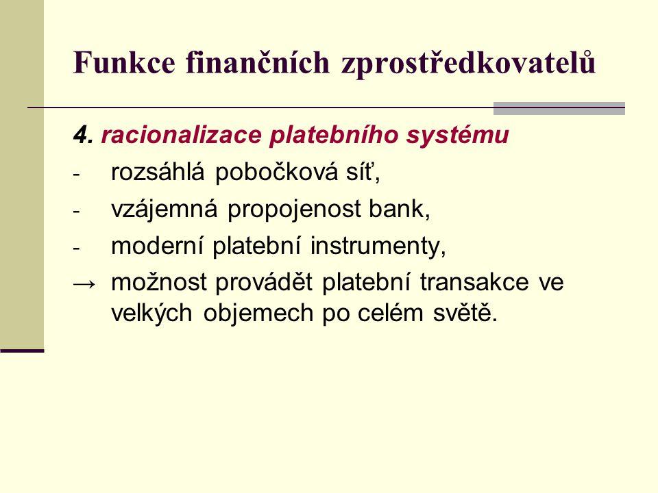 Funkce finančních zprostředkovatelů 4. racionalizace platebního systému - rozsáhlá pobočková síť, - vzájemná propojenost bank, - moderní platební inst