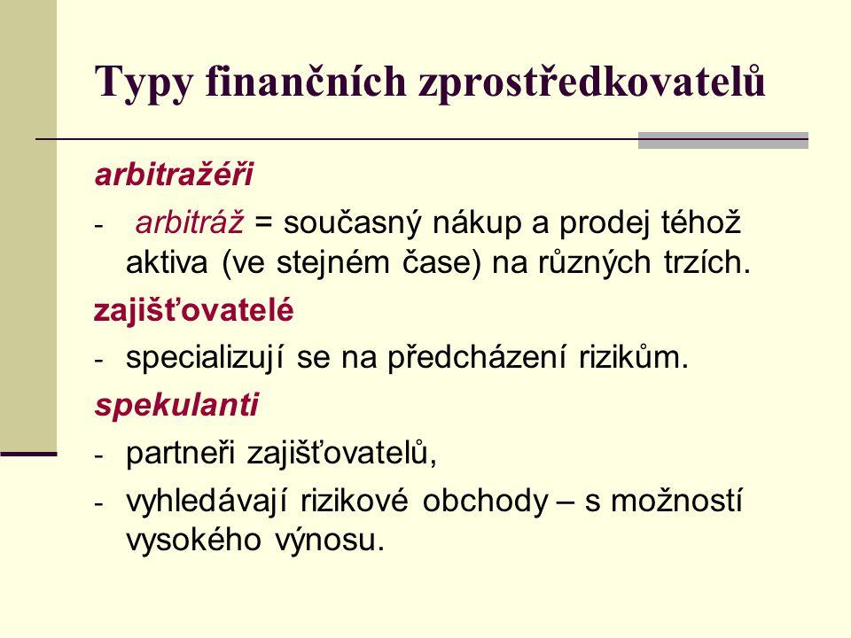 Typy finančních zprostředkovatelů arbitražéři - arbitráž = současný nákup a prodej téhož aktiva (ve stejném čase) na různých trzích. zajišťovatelé - s