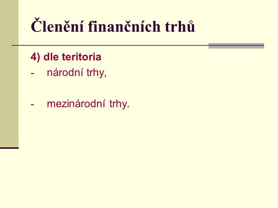 Členění finančních trhů 4) dle teritoria - národní trhy, - mezinárodní trhy.