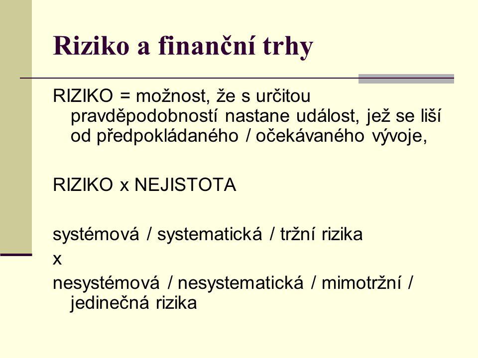 Riziko a finanční trhy RIZIKO = možnost, že s určitou pravděpodobností nastane událost, jež se liší od předpokládaného / očekávaného vývoje, RIZIKO x NEJISTOTA systémová / systematická / tržní rizika x nesystémová / nesystematická / mimotržní / jedinečná rizika