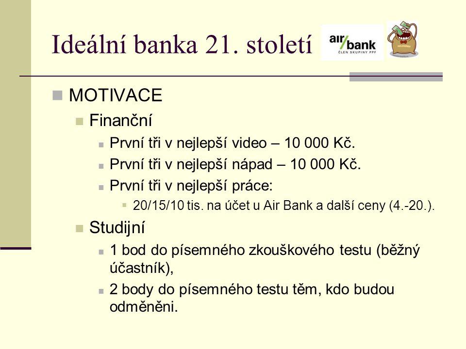 Ideální banka 21. století MOTIVACE Finanční První tři v nejlepší video – 10 000 Kč. První tři v nejlepší nápad – 10 000 Kč. První tři v nejlepší práce
