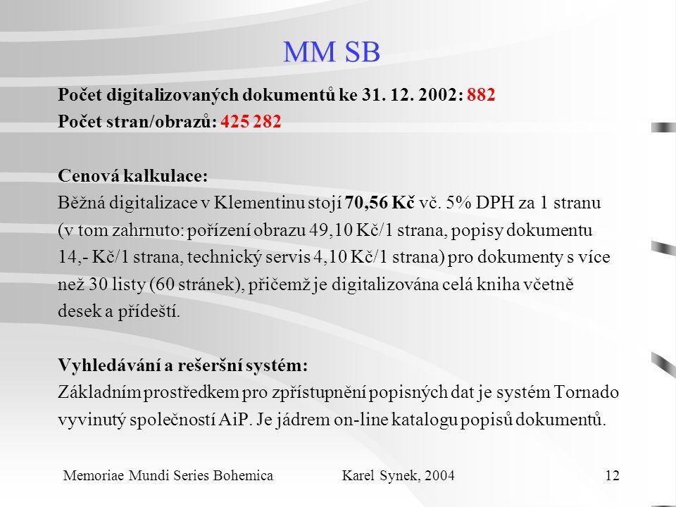 MM SB Počet digitalizovaných dokumentů ke 31. 12.