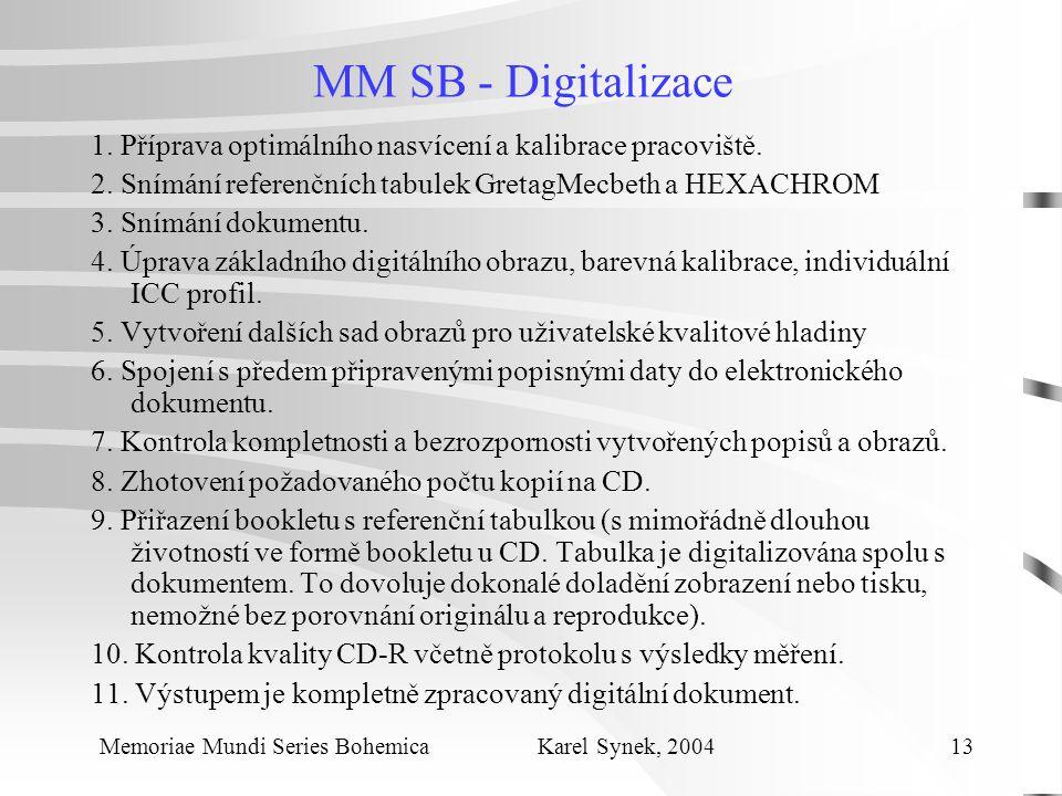 MM SB - Digitalizace 1. Příprava optimálního nasvícení a kalibrace pracoviště.