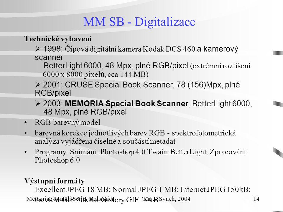 MM SB - Digitalizace Technické vybavení  1998: Čipová digitální kamera Kodak DCS 460 a kamerový scanner BetterLight 6000, 48 Mpx, plné RGB/pixel (extrémní rozlišení 6000 x 8000 pixelů, cca 144 MB)  2001: CRUSE Special Book Scanner, 78 (156)Mpx, plné RGB/pixel  2003: MEMORIA Special Book Scanner, BetterLight 6000, 48 Mpx, plné RGB/pixel RGB barevný model barevná korekce jednotlivých barev RGB - spektrofotometrická analýza vyjádřena číselně a součástí metadat Programy: Snímání: Photoshop 4.0 Twain:BetterLight, Zpracování: Photoshop 6.0 Výstupní formáty Excellent JPEG 18 MB; Normal JPEG 1 MB; Internet JPEG 150kB; Preview GIF 50kB a Gallery GIF 10kB Memoriae Mundi Series Bohemica Karel Synek, 2004 14