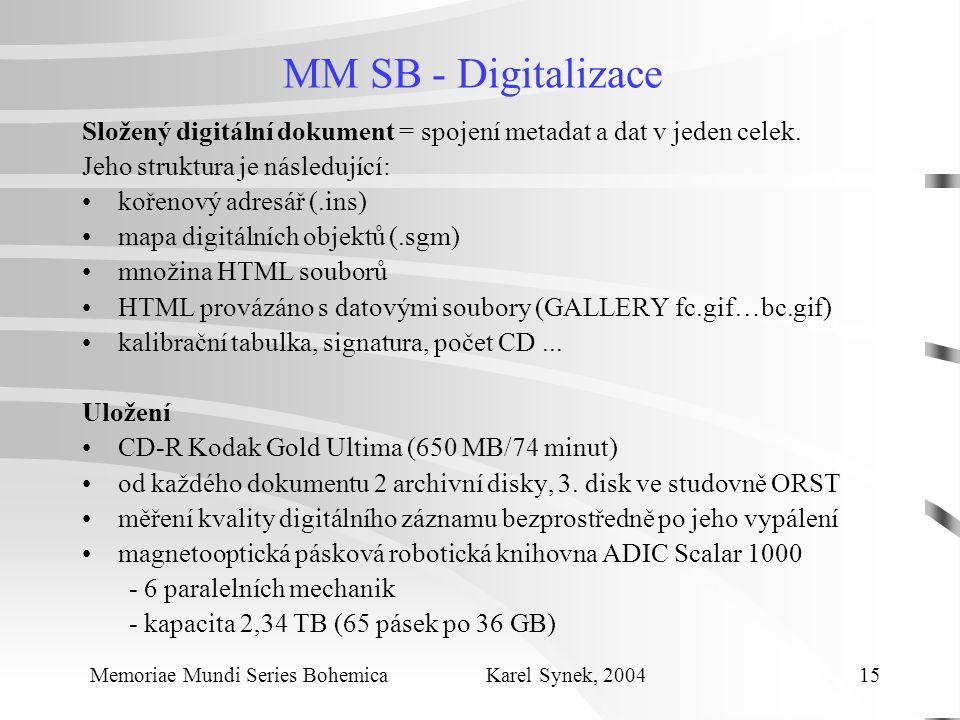 MM SB - Digitalizace Složený digitální dokument = spojení metadat a dat v jeden celek.