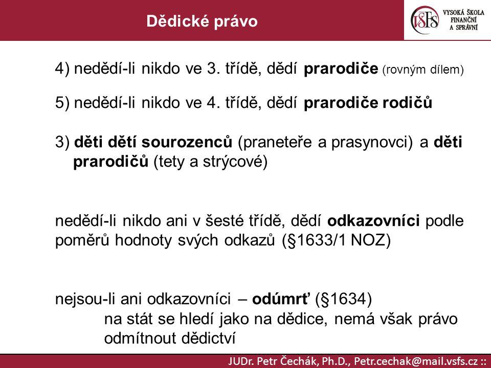 JUDr. Petr Čechák, Ph.D., Petr.cechak@mail.vsfs.cz :: Dědické právo 4) nedědí-li nikdo ve 3. třídě, dědí prarodiče (rovným dílem) 5) nedědí-li nikdo v
