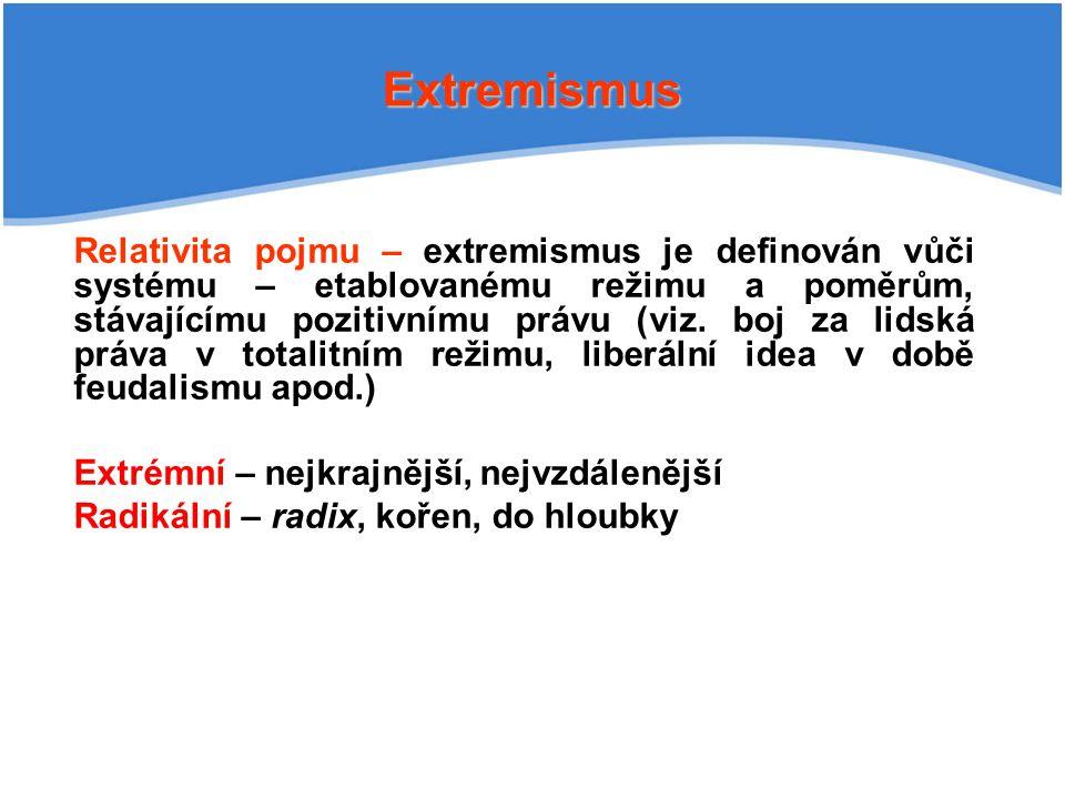 Extremismus Relativita pojmu – extremismus je definován vůči systému – etablovanému režimu a poměrům, stávajícímu pozitivnímu právu (viz. boj za lidsk