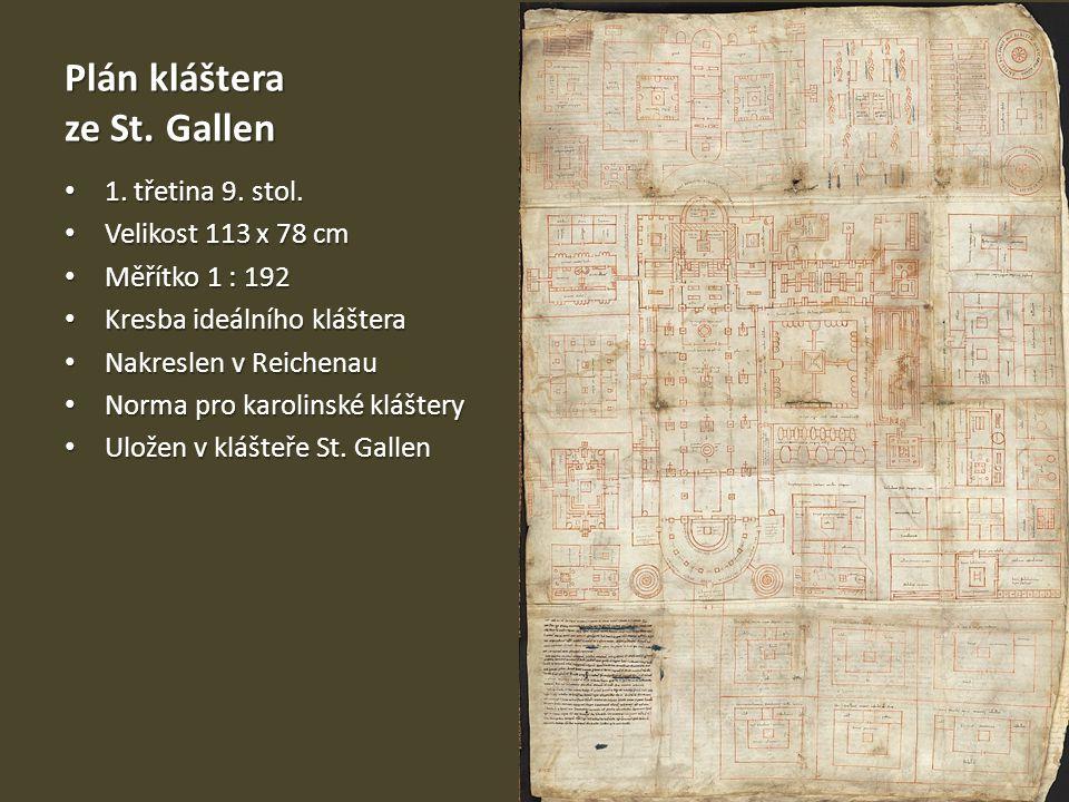 Plán kláštera ze St. Gallen 1. třetina 9. stol. 1. třetina 9. stol. Velikost 113 x 78 cm Velikost 113 x 78 cm Měřítko 1 : 192 Měřítko 1 : 192 Kresba i