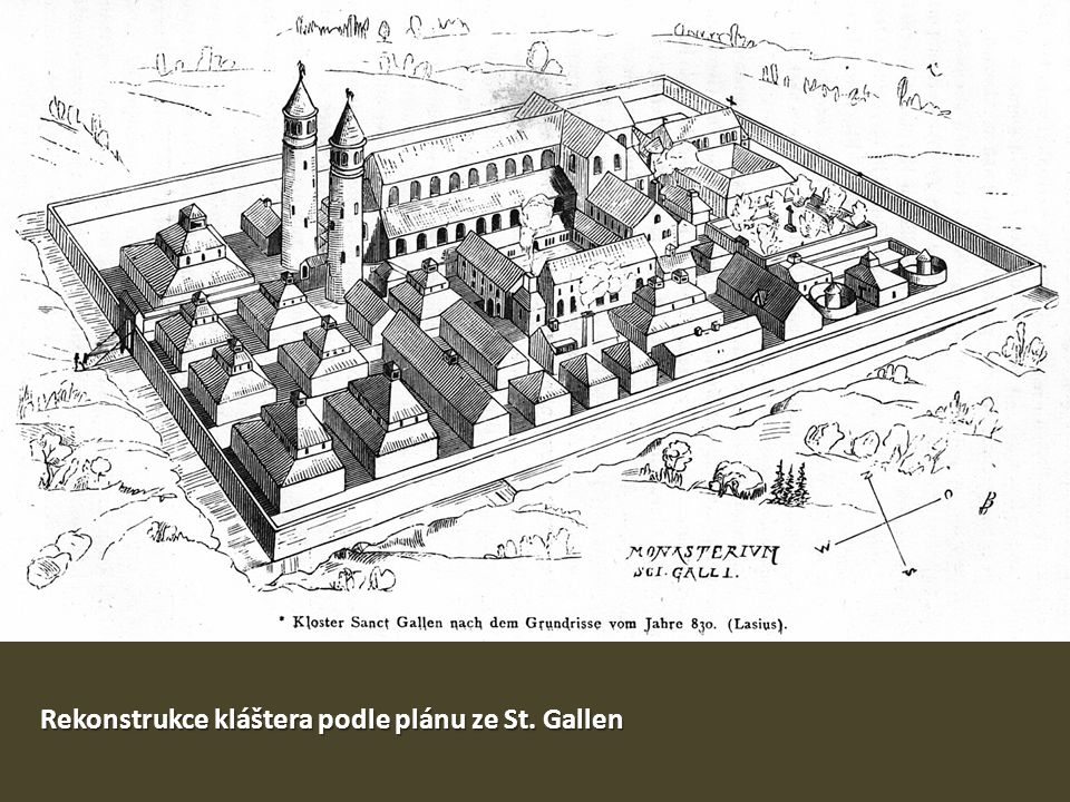 Rekonstrukce kláštera podle plánu ze St. Gallen