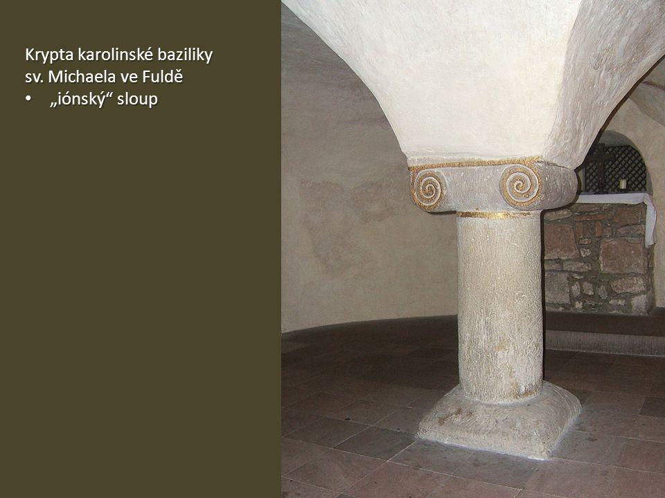 """Krypta karolinské baziliky sv. Michaela ve Fuldě """"iónský"""" sloup """"iónský"""" sloup"""