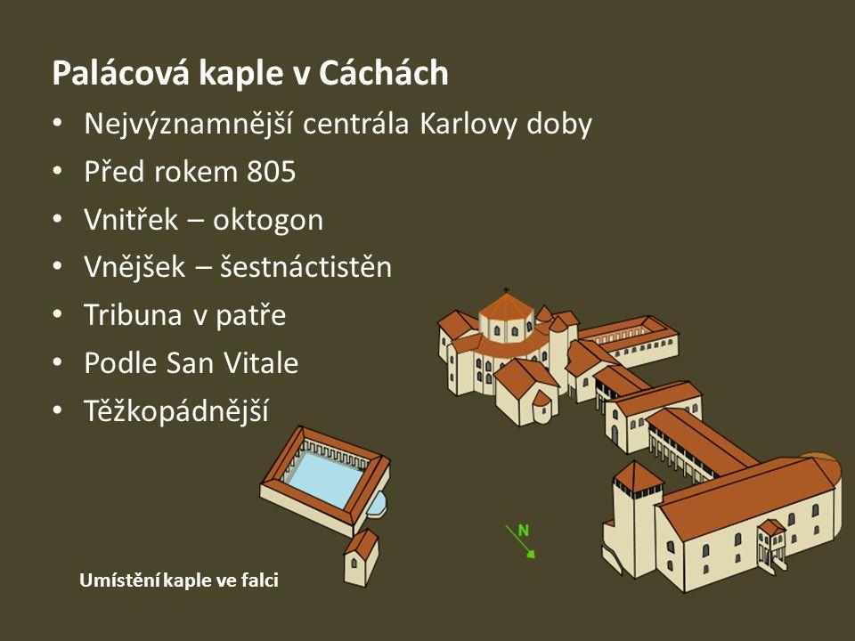 Palácová kaple v Cáchách Nejvýznamnější centrála Karlovy doby Před rokem 805 Vnitřek – oktogon Vnějšek – šestnáctistěn Tribuna v patře Podle San Vital