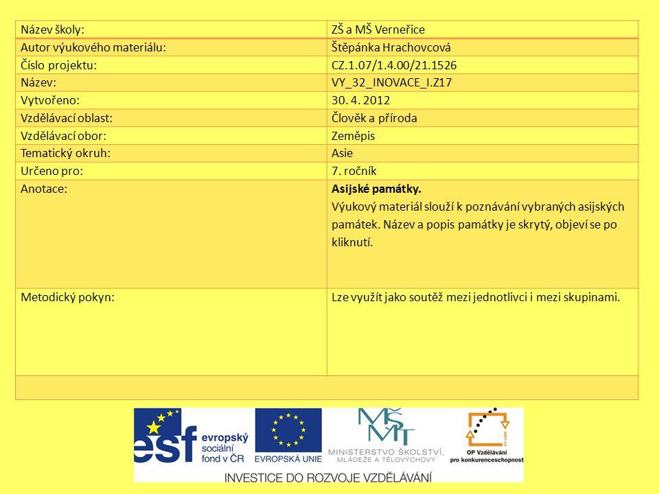 Název školy:ZŠ a MŠ Verneřice Autor výukového materiálu:Štěpánka Hrachovcová Číslo projektu:CZ.1.07/1.4.00/21.1526 Název:VY_32_INOVACE_I.Z17 Vytvořeno