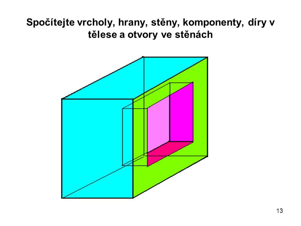 13 Spočítejte vrcholy, hrany, stěny, komponenty, díry v tělese a otvory ve stěnách