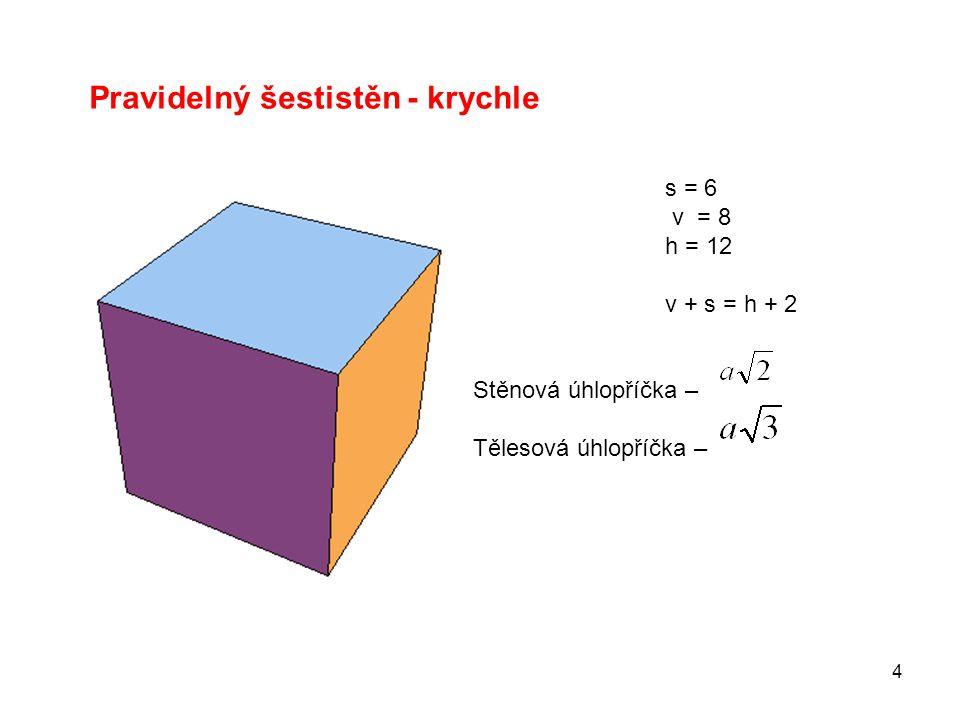 4 Pravidelný šestistěn - krychle s = 6 v = 8 h = 12 v + s = h + 2 Stěnová úhlopříčka – Tělesová úhlopříčka –