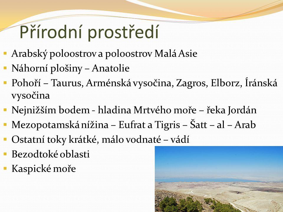 Přírodní prostředí  Arabský poloostrov a poloostrov Malá Asie  Náhorní plošiny – Anatolie  Pohoří – Taurus, Arménská vysočina, Zagros, Elborz, Írán