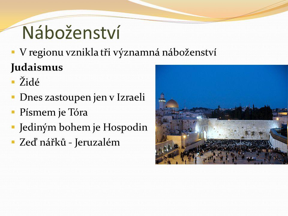 Náboženství  V regionu vznikla tři významná náboženství Judaismus  Židé  Dnes zastoupen jen v Izraeli  Písmem je Tóra  Jediným bohem je Hospodin