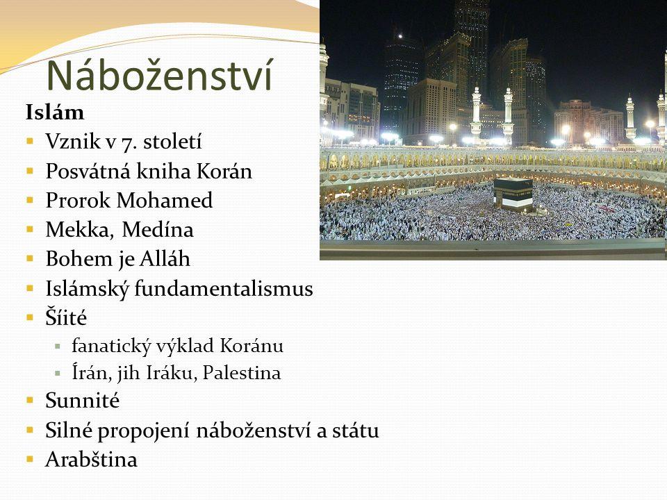 Náboženství Islám  Vznik v 7. století  Posvátná kniha Korán  Prorok Mohamed  Mekka, Medína  Bohem je Alláh  Islámský fundamentalismus  Šíité 