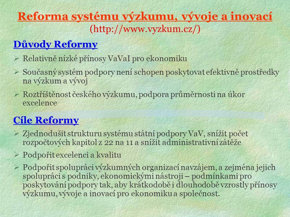 Reforma systému výzkumu, vývoje a inovací (http://www.vyzkum.cz/) Důvody Reformy  Relativně nízké přínosy VaVaI pro ekonomiku  Současný systém podpory není schopen poskytovat efektivně prostředky na výzkum a vývoj  Roztříštěnost českého výzkumu, podpora průměrnosti na úkor excelence Cíle Reformy  Zjednodušit strukturu systému státní podpory VaV, snížit počet rozpočtových kapitol z 22 na 11 a snížit administrativní zátěže  Podpořit excelenci a kvalitu  Podpořit spolupráci výzkumných organizací navzájem, a zejména jejich spolupráci s podniky, ekonomickými nástroji – podmínkami pro poskytování podpory tak, aby krátkodobě i dlouhodobě vzrostly přínosy výzkumu, vývoje a inovací pro ekonomiku a společnost.