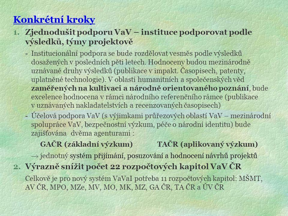 Konkrétní kroky 1.Zjednodušit podporu VaV – instituce podporovat podle výsledků, týmy projektově - Institucionální podpora se bude rozdělovat vesměs p