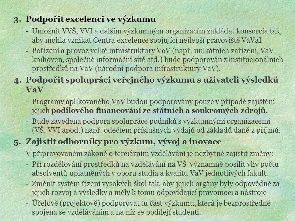 3.Podpořit excelenci ve výzkumu - Umožnit VVŠ, VVI a dalším výzkumným organizacím zakládat konsorcia tak, aby mohla vznikat Centra excelence spojující nejlepší pracoviště VaVaI -Pořízení a provoz velké infrastruktury VaV (např.