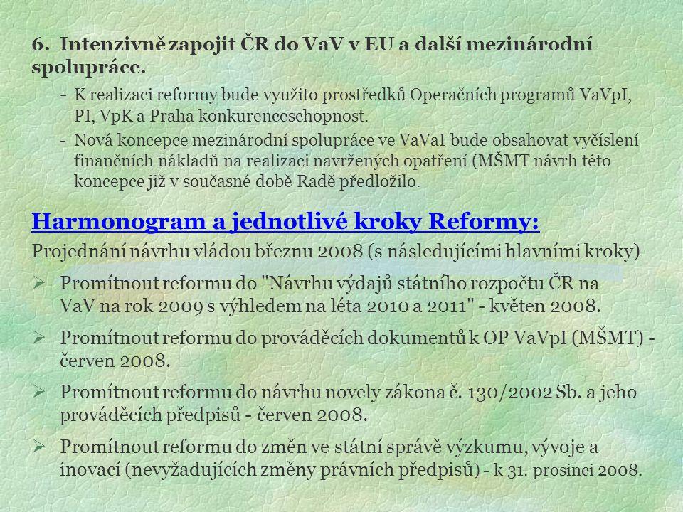 6.Intenzivně zapojit ČR do VaV v EU a další mezinárodní spolupráce. - K realizaci reformy bude využito prostředků Operačních programů VaVpI, PI, VpK a