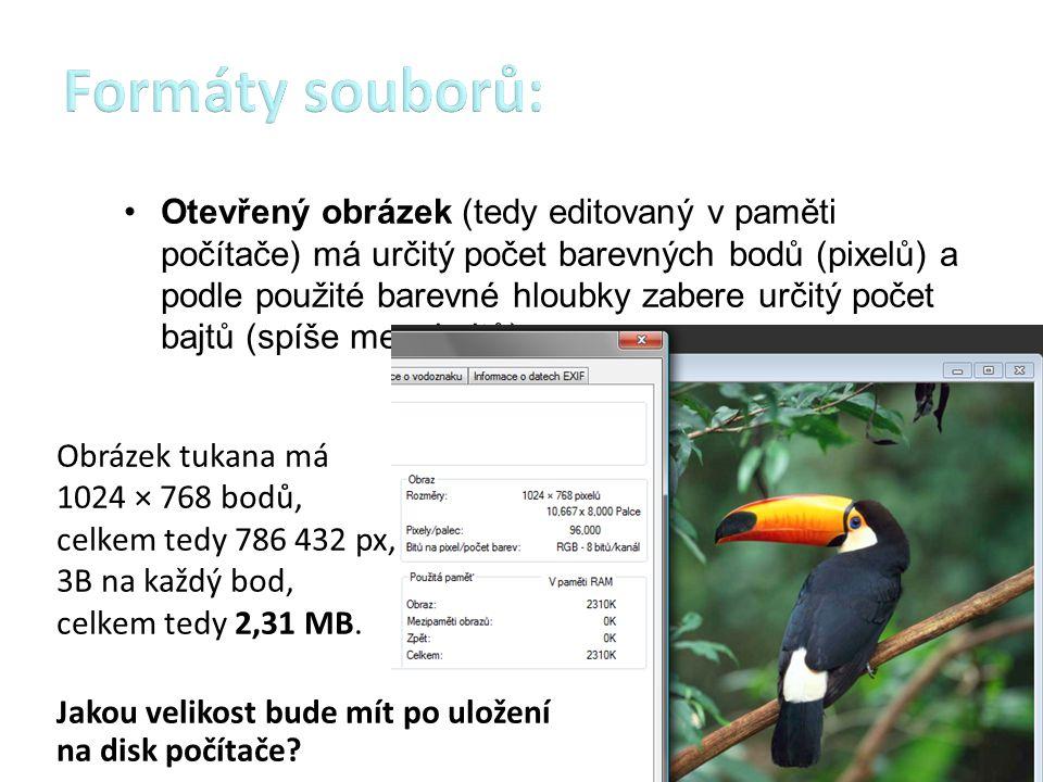 Velikost souboru s obrázkem na disku závisí na použitém formátu souboru.