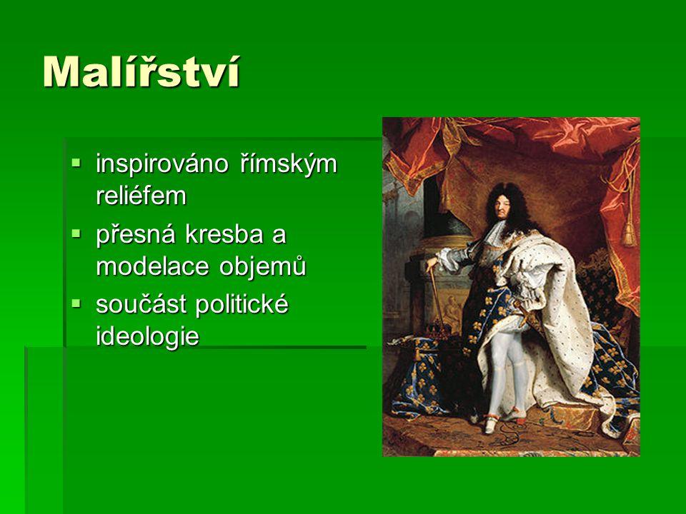 Malířství  inspirováno římským reliéfem  přesná kresba a modelace objemů  součást politické ideologie