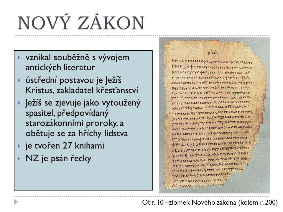 NOVÝ ZÁKON  vznikal souběžně s vývojem antických literatur  ústřední postavou je Ježíš Kristus, zakladatel křesťanství  Ježíš se zjevuje jako vytou