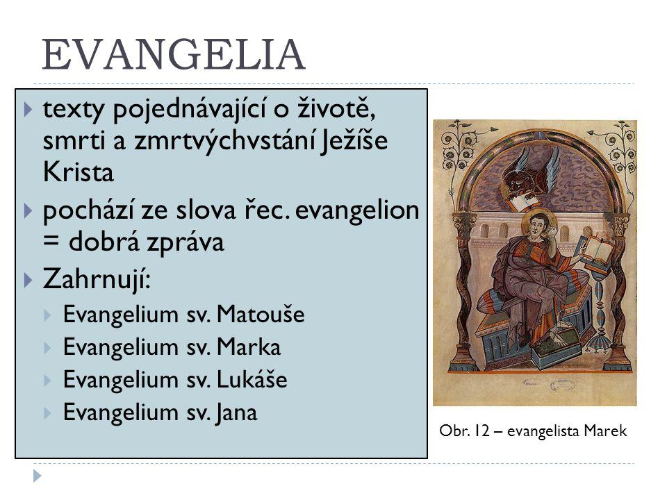 EVANGELIA  texty pojednávající o životě, smrti a zmrtvýchvstání Ježíše Krista  pochází ze slova řec. evangelion = dobrá zpráva  Zahrnují:  Evangel