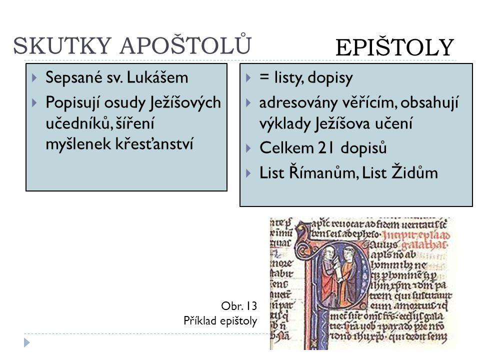 SKUTKY APOŠTOLŮ  Sepsané sv. Lukášem  Popisují osudy Ježíšových učedníků, šíření myšlenek křesťanství  = listy, dopisy  adresovány věřícím, obsahu