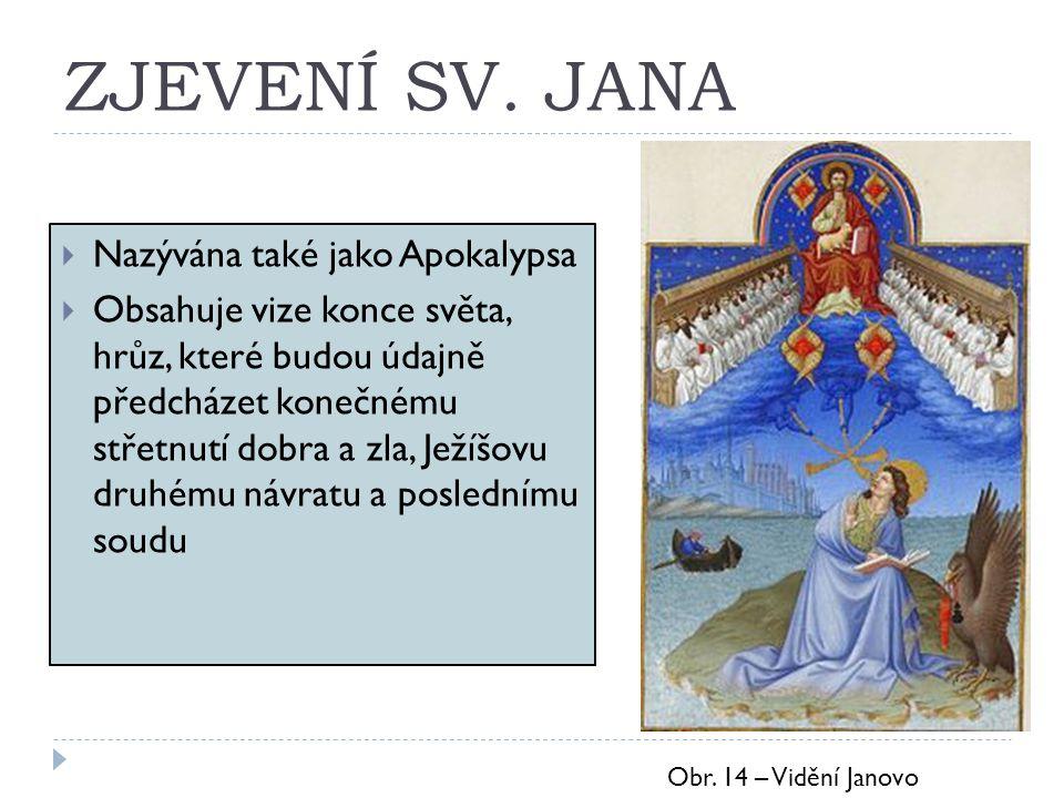 ZJEVENÍ SV. JANA  Nazývána také jako Apokalypsa  Obsahuje vize konce světa, hrůz, které budou údajně předcházet konečnému střetnutí dobra a zla, Jež