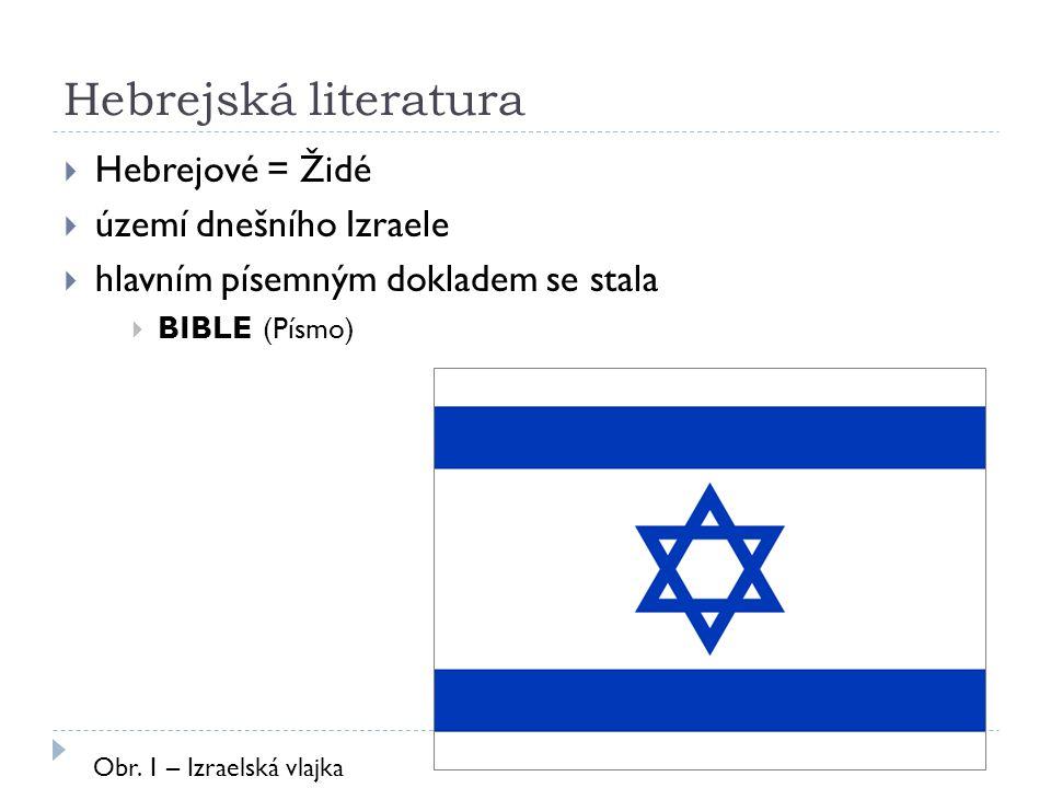 Hebrejská literatura  Hebrejové = Židé  území dnešního Izraele  hlavním písemným dokladem se stala  BIBLE (Písmo) Obr. 1 – Izraelská vlajka