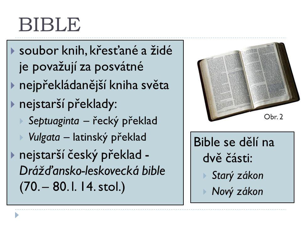 BIBLE  soubor knih, křesťané a židé je považují za posvátné  nejpřekládanější kniha světa  nejstarší překlady:  Septuaginta – řecký překlad  Vulg