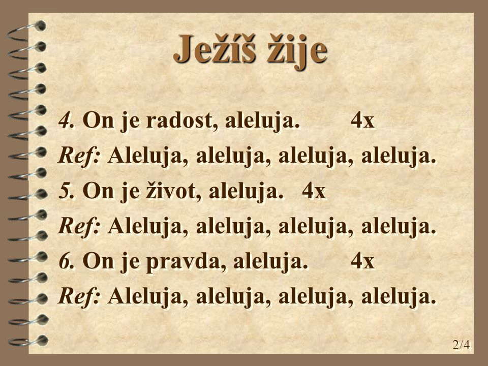 4. On je radost, aleluja. 4x Ref: Aleluja, aleluja, aleluja, aleluja.
