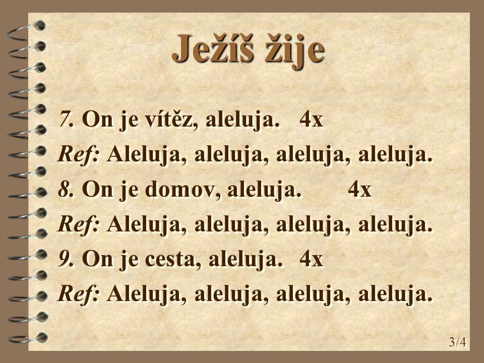 7. On je vítěz, aleluja. 4x Ref: Aleluja, aleluja, aleluja, aleluja.