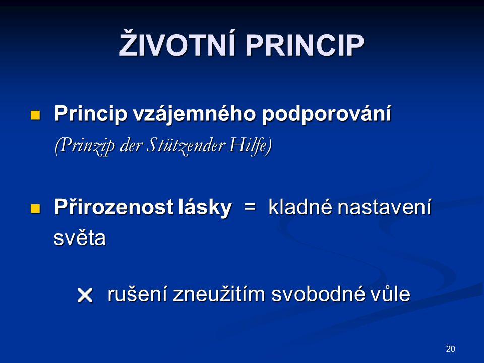 20 ŽIVOTNÍ PRINCIP Princip vzájemného podporování Princip vzájemného podporování (Prinzip der Stützender Hilfe) (Prinzip der Stützender Hilfe) Přiroze