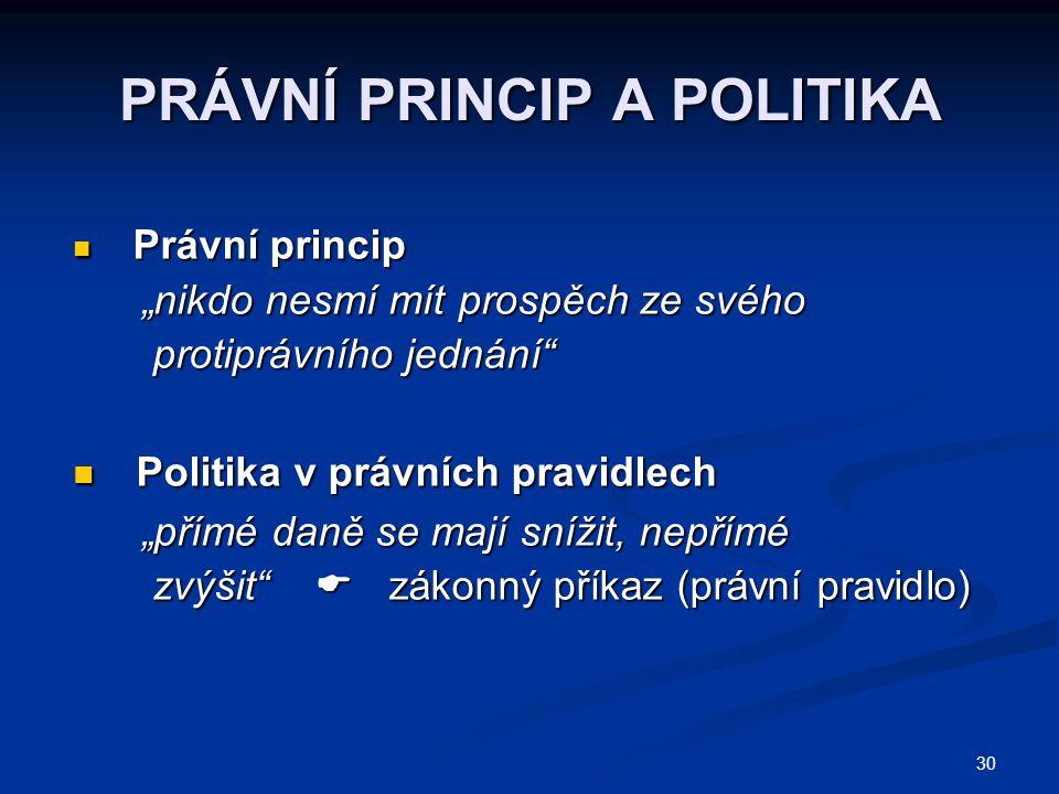 """30 PRÁVNÍ PRINCIP A POLITIKA Právní princip Právní princip """"nikdo nesmí mít prospěch ze svého """"nikdo nesmí mít prospěch ze svého protiprávního jednání"""