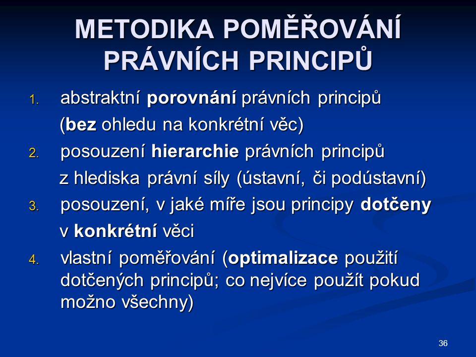 36 METODIKA POMĚŘOVÁNÍ PRÁVNÍCH PRINCIPŮ 1. abstraktní porovnání právních principů (bez ohledu na konkrétní věc) (bez ohledu na konkrétní věc) 2. poso