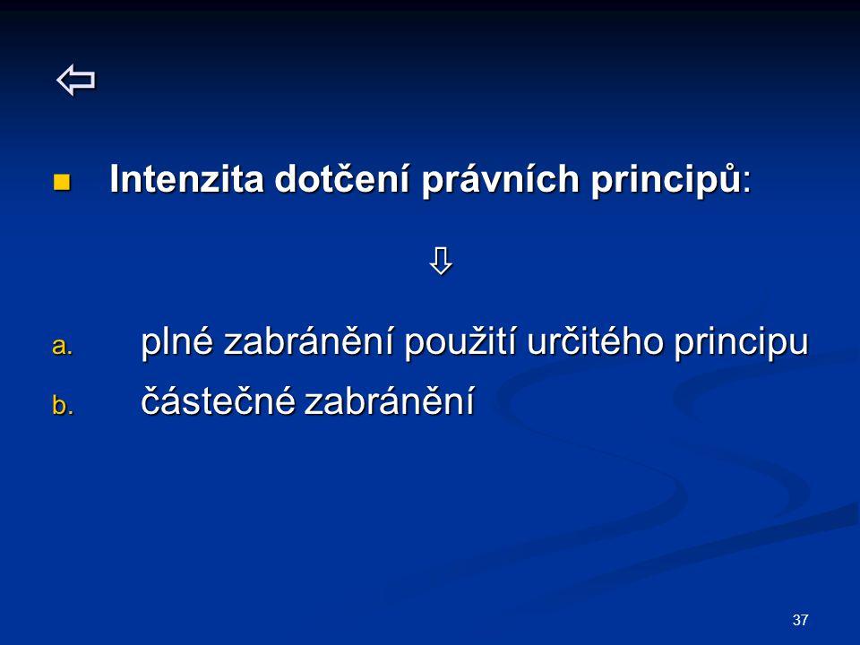 37  Intenzita dotčení právních principů: Intenzita dotčení právních principů:  a. plné zabránění použití určitého principu b. částečné zabránění