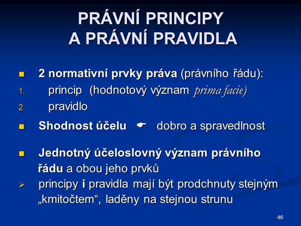 46 PRÁVNÍ PRINCIPY A PRÁVNÍ PRAVIDLA 2 normativní prvky práva (právního řádu): 2 normativní prvky práva (právního řádu): 1. princip (hodnotový význam
