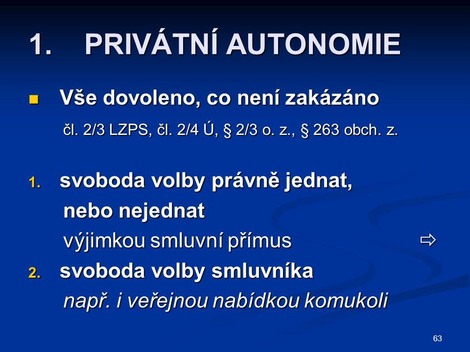 63 1. PRIVÁTNÍ AUTONOMIE Vše dovoleno, co není zakázáno Vše dovoleno, co není zakázáno čl. 2/3 LZPS, čl. 2/4 Ú, § 2/3 o. z., § 263 obch. z. čl. 2/3 LZ