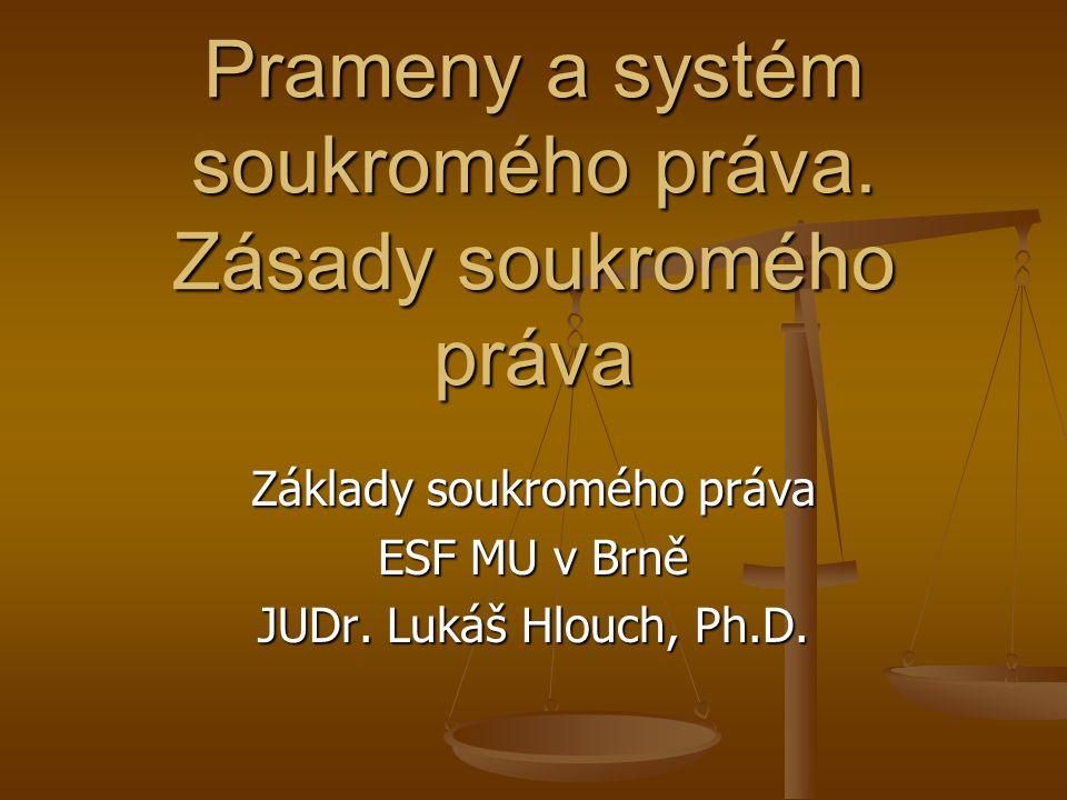 Občanské právo a soukromé právo občanské právo a ostatní soukromoprávní obory občanské právo a ostatní soukromoprávní obory vztah speciality (lex specialis) a subsidiarity (podpůrnosti použití) vztah speciality (lex specialis) a subsidiarity (podpůrnosti použití) relativní autonomie některých odvětví (obchodní, pracovní právo) relativní autonomie některých odvětví (obchodní, pracovní právo) snaha po vytvoření kodexu soukromého práva - úspěšná: nový občanský zákoník z.